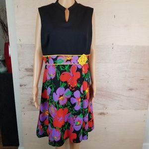 Vintage 60's 70's Kay Windsor Black Floral Dress